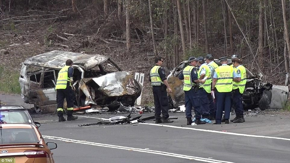 Police have explained they are investigating the behaviour of the driver of the other car, Craig Anthony Whitall. Pictured: The horrific crash scene
