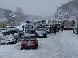 Police said visibility was close to zero when one car spun out of control on the southbound US-31 in Muskegon in Michigan's southwest on Friday afternoon