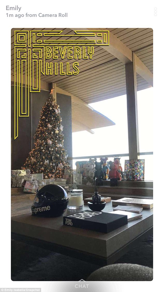 Home sweet home:The star then shared a look at a large Christmas tree with gifts
