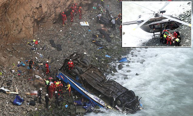 Bus plunges off cliff on 'Devil's Curve' highway in Peru