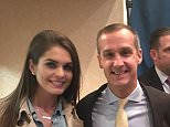 Hope Hicks (left) allegedly dated married Trump Campaign Manager Corey Lewandowski (center; Kellyanne Conway is right), according to the book, which said the now president called her the 'greatest piece of tail' Lewandowski would ever have
