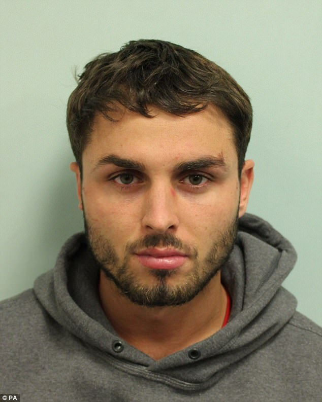 Red handed: Arthur pleaded guilty to concealing a mobile phone and USB sticks in a pair of crutches whilst on remand for attacking 22 people with acid in a packed night club