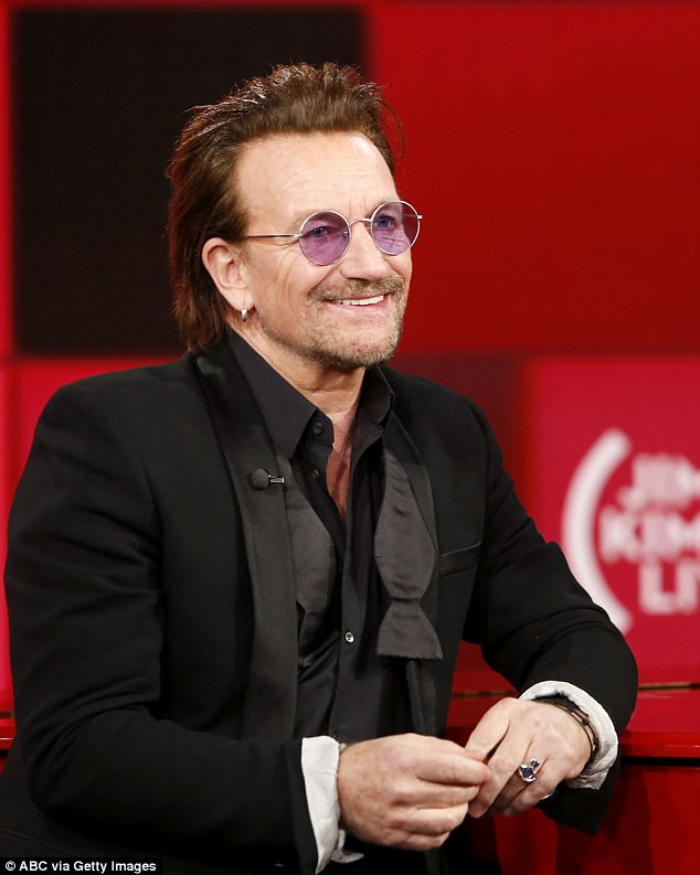 Still going strong:Bono has had brushes with near-death experiences and illness in the past, including a cancer scare, amnesia, broken bones and emergency back surgery