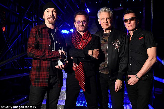 Fantastic Four:(L-R) The Edge, Bono, Adam Clayton and Larry Mullen Jr of U2 have just released new albumalbum Songs Of Experience which touches on Bono's health scare
