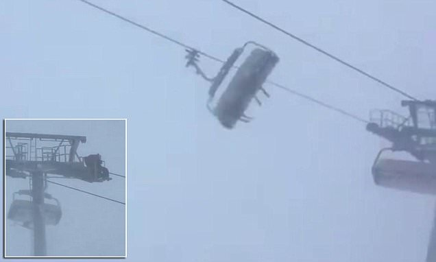 Skiers stuck in swinging chairlift at Austrian resort
