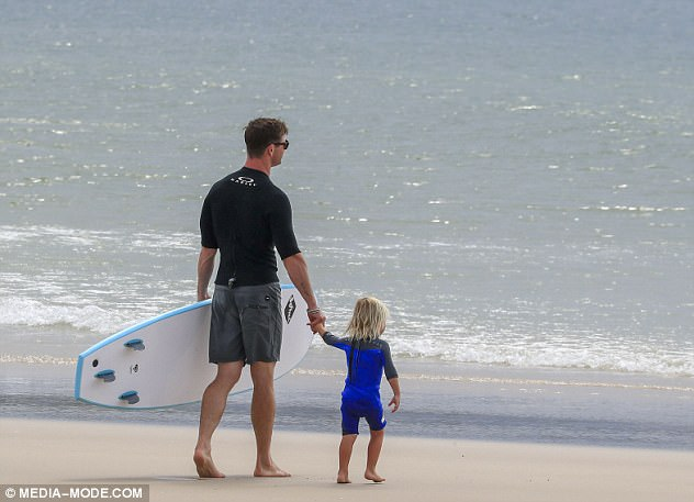 Picture perfect:During the day out, the actor proved himself a natural at fatherhood