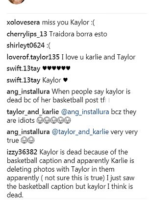 'Miss you Kaylor': Fans were quick to comment fearing that 'Kaylor is dead' after they saw Karlie's caption