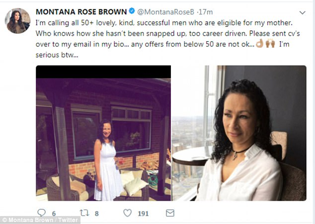 Calling all men! The starlet, 22, took to both Twitter and Instagram to pitch the idea - which she insisted was not a joke - as she urged men over 50 to try to win 51-year-old Sarah's heart while claiming her mum was 'too career driven to have been snapped up'