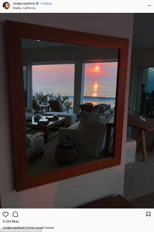 Gorgeous: Cindy posted a snap of her gorgeous home in Malibu the same day with the caption: 'Home sweet home'; as she had spent Christmas in Steamboat, Colorado