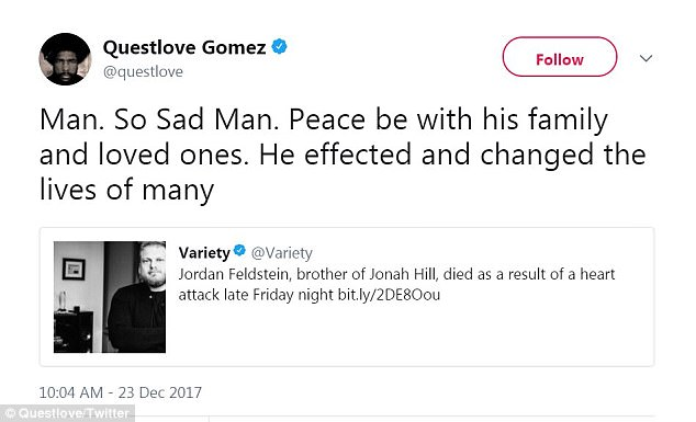 'Peace be with his family and loved ones': The Tonight Show's Questlove Gomez noted how Feldstein affected 'and changed the lives of many'