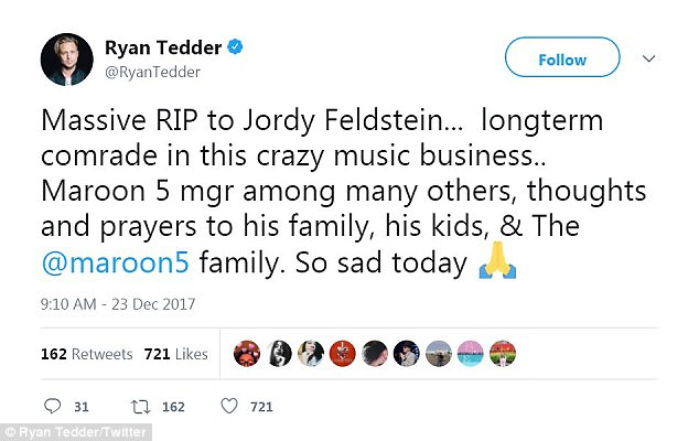'Thoughts and prayers': OneRepublic frontman Ryan Tedder - who's produced songs for Maroon 5 - called Jordan his 'longtime comrade in this crazy music business'