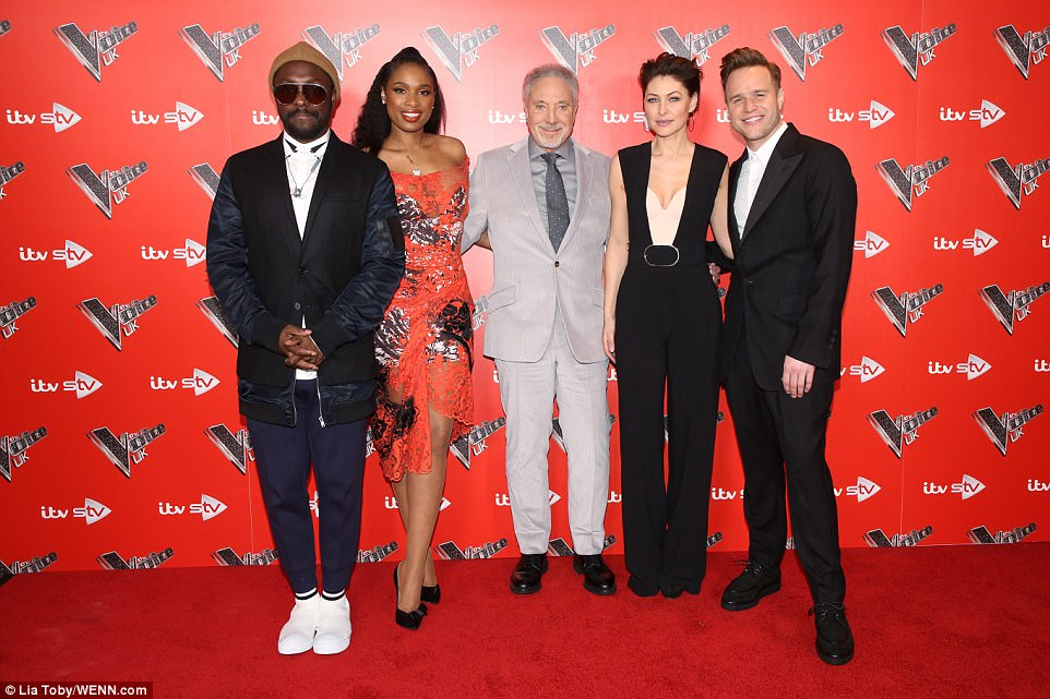 Looking good: Will.I.Am, Jennifer Hudson, Sir Tom Jones, Emma Willis and Olly Murs made for a handsome show team
