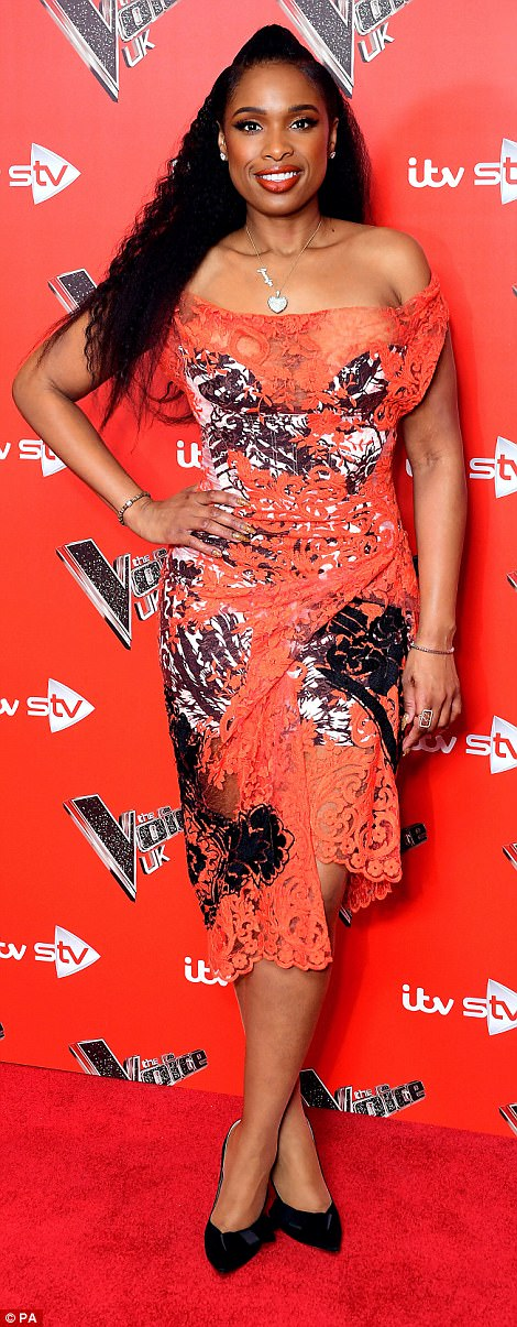 Glamorous gal pals: Jennifer Hudson, 36, seemed to be feeling confident at The Voice UK Launch and photocall at Ham Yard Hotel in London on Wednesday as she turned heads in a vibrant gown on the red carpet with show host Emma Wills, 41