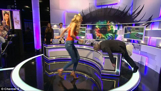 Making a run for it: The panelists, including Olivia, Jim, AJ Pritchard and Luisa Zissman, proceeded to run around the table - but Jim pretended to struggle