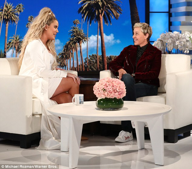 Pregnancy talk:Khloe is just three months from giving birth and told host Ellen DeGeneres she's starting to feel 'uncomfortable now'