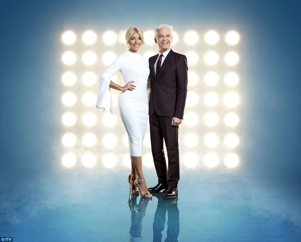 Back to it: The TV star is currently preparing to host rebooted series Dancing On Ice with Phillip Schofield when it returns to ITV on Sunday, after the original show was cancelled in 2014