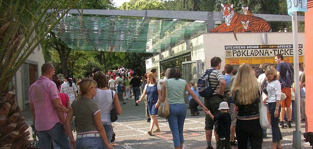 Tourist attraction: The main entrance of Prague Zoo where a number of gorillas are housed