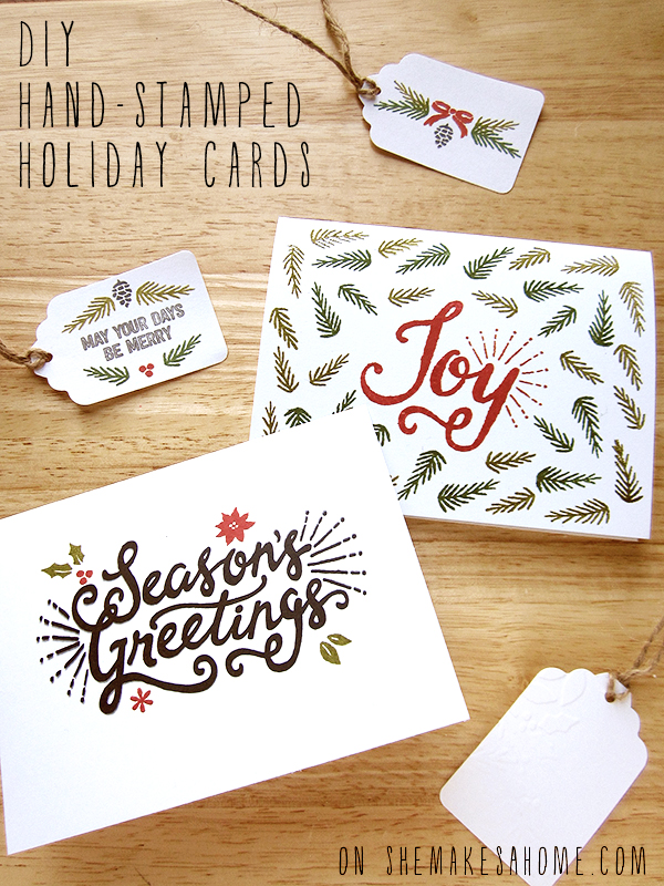 diy hand-stamped holiday cards