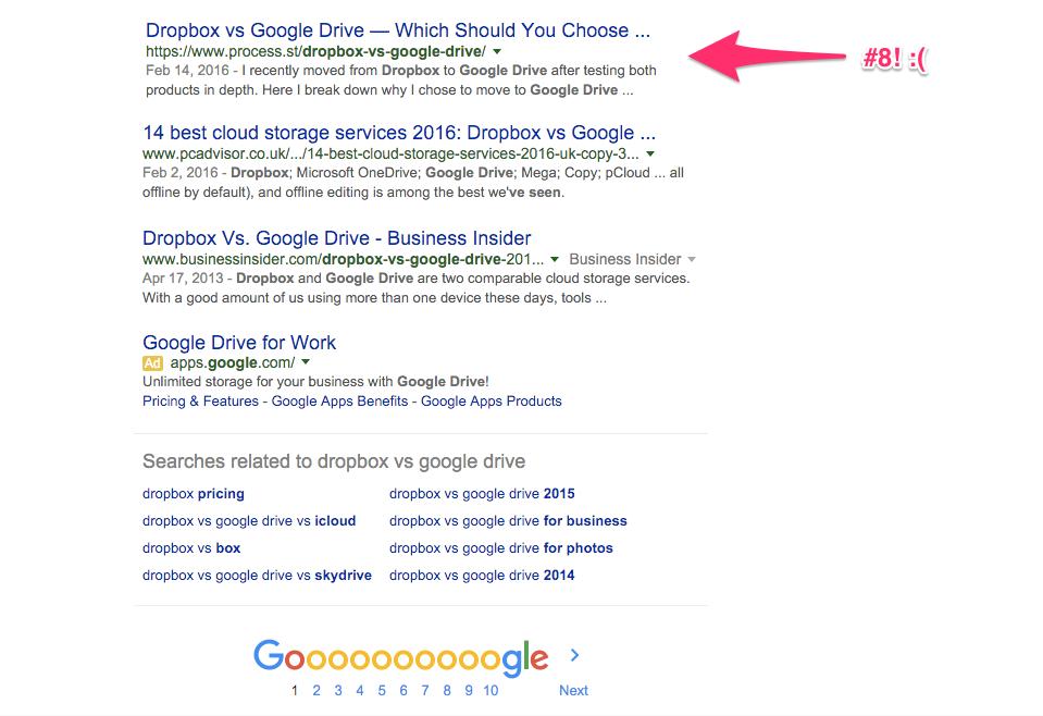 low on google