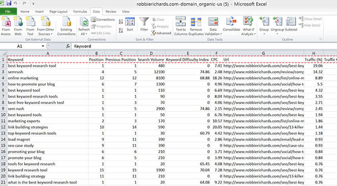 Excel spreadsheet with data imported