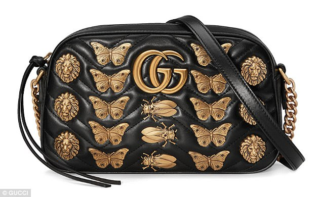 Gucci's beetle and butterfly embellished version of its wildly popular Marmont bag costs £1,210 - that's over £1,200 more than the Primark bag it inspired