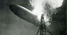 German Hindenburg Zeppelin Explodes while trying to dock at station in Lakehurst, New Jersey on May 6, 1937. It was the worlds largest airship