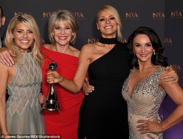 Beaming with pride:Tess, joined by season 15 dancers Mollie King and Ruth Langsford, remarked in her speech: 'The viewers mean so much to us, if we didn't have you we wouldn't have Strictly, this is for you'