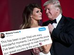 Trump and Melania Trump shown during the first inaugural dance Jan. 20, 2017, their anniversary came just days later on Jan. 22, at that time she had returned to New York and did not celebrate with the president