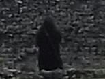 They didn't expect to see  an eerie black-hooded figure glaring towards the camera from the opposite end of the site