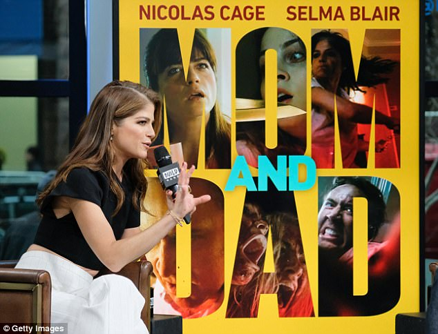 New movie: Blair was in New York Monday to promote her dark comedy Mom And Dad in which she stars with Nicolas Cage as parents who go into a murderous rage against their children