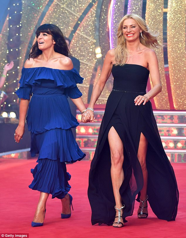 Busy lady:She's been packing in the family time since wrapping up her presenting stint on Strictly Come Dancing with the dazzling final two weeks ago. Pictured with co-host Tess Daly at the launch in August
