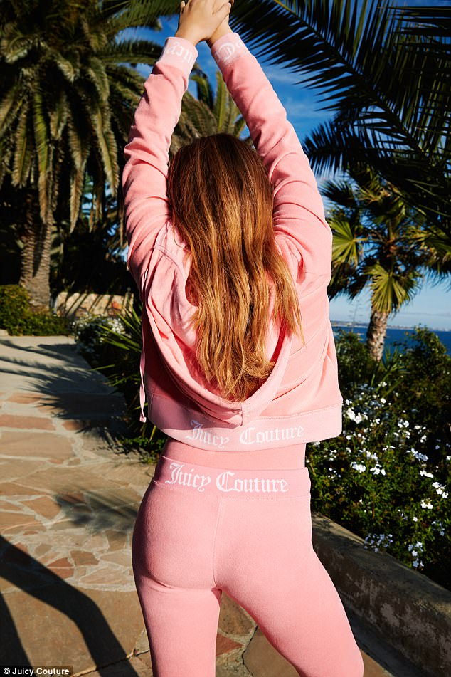 Classic: One of the shots sees her posing with her back to the camera and, in trademark Juicy Couture fashion, displaying the brand's name written across her lower back