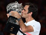 Roger Federer, 36, was seen with tears rolling down his face on Sunday night as be became the first man in history to win 20 Grand Slams