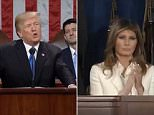 The crowd stood and cheered as the president heralded: 'In America we know that faith and family, not government and bureaucracy are the center of American life.' Melania remained seated