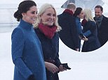 Image licensed to i-Images Picture Agency. 01/02/2018. Oslo, Norway. The Duke and Duchess of Cambridge arriving at Oslo airport in Norway as they are met by Crown Prince Haakon and Crown Princess Mette-Marittour on day three of their Royal Tour to Sweden and Norway.  Picture by Stephen Lock / i-Images