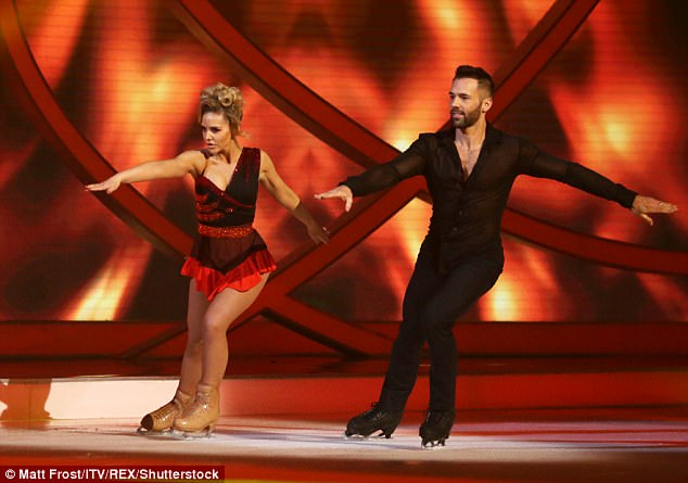 Head to head: The Hollyoaks actress was gutted her time on the ice rink had been a brief affair after she danced with Sylvain for the last time to Ella Henderson's Glow