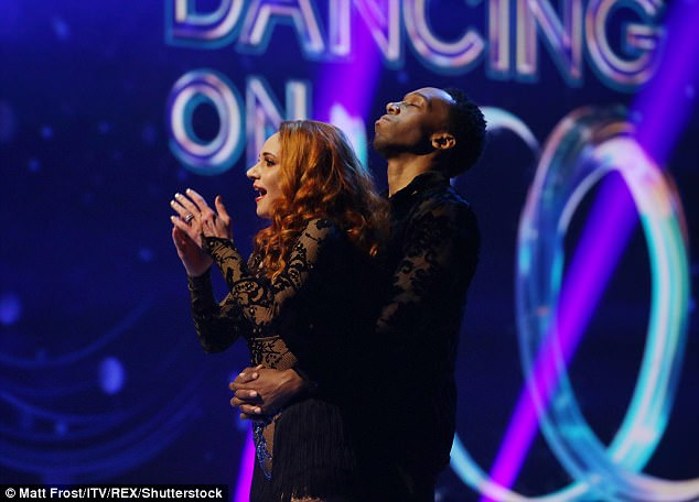 Stunned: Lemar survived the skate-off despite suffering from a stumble in his Save Me performance with Melody Le Moal to Bruno Mars Grenade