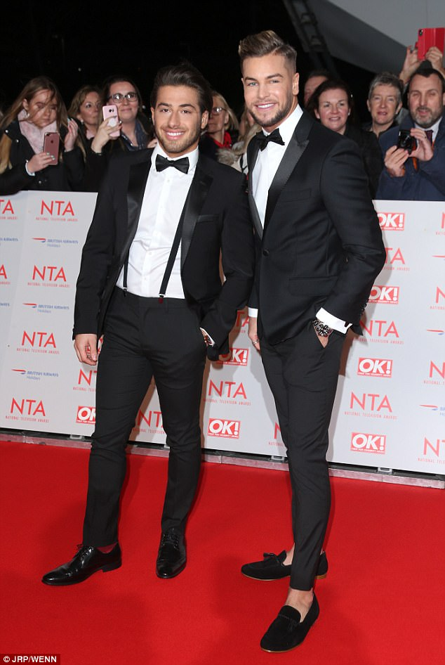 Close bond: Chris was joined on the red carpet by his pal and Love Island co-star and Amber's ex boyfriend Kem Cetinay