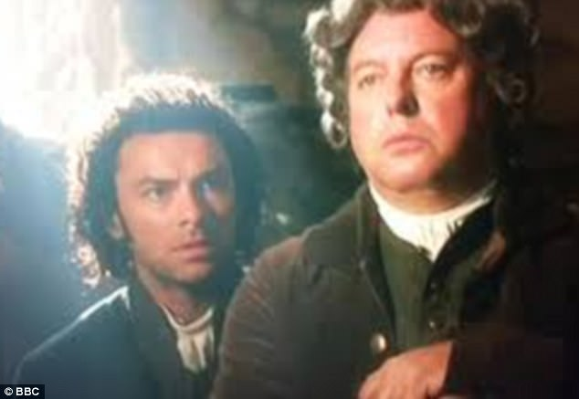 Daws appeared in Poldark as Dr Choake (right, alongside Aidan Turner as Ross Poldark)