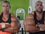 Bulk buying: Tony 'Hulk' Geraldo , 49, and Alvaro 'Conan' Pereira, 50, cross their huge arms that have been enhanced by using the chemical supplement Potenay B12