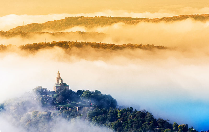Tsarevets fortress in Veliko Turnovo, Bulgaria in fog