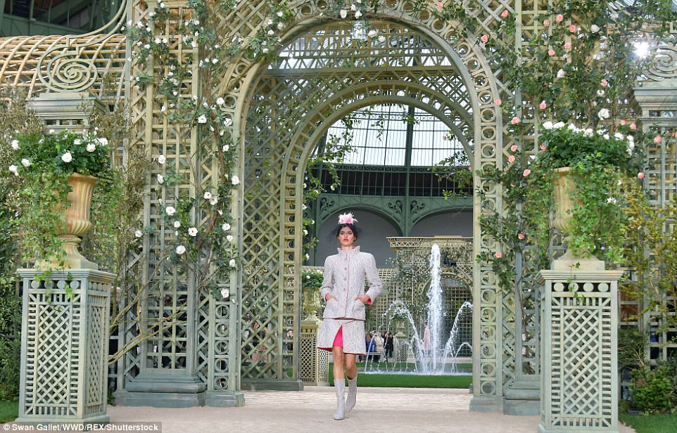 Stunning: This silver and pink two-piece was also well-received by the Chanel fans