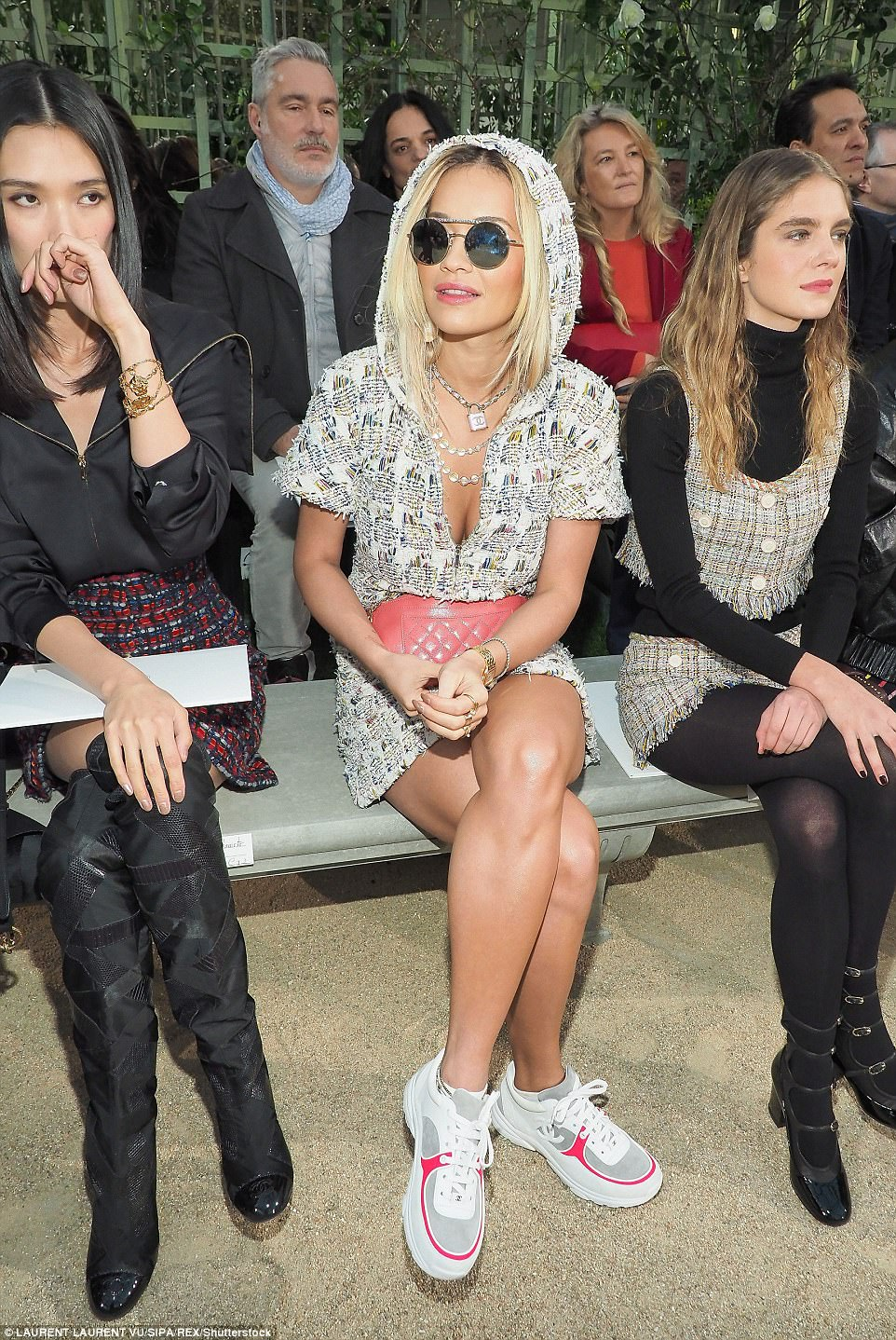 All eyes on her: Rita sat in the FROW among a host of beautifully dressed women and looked sensational