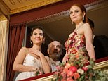 epa06506559 British actress Lily James (L), German actor Heiner Lauterbach (C) and German model Barbara Meier (R) attend the opening ceremony of the traditional 62nd Vienna Opera Ball at the State Opera in Vienna, Austria, 08 February 2018.  EPA/LISI NIESNER