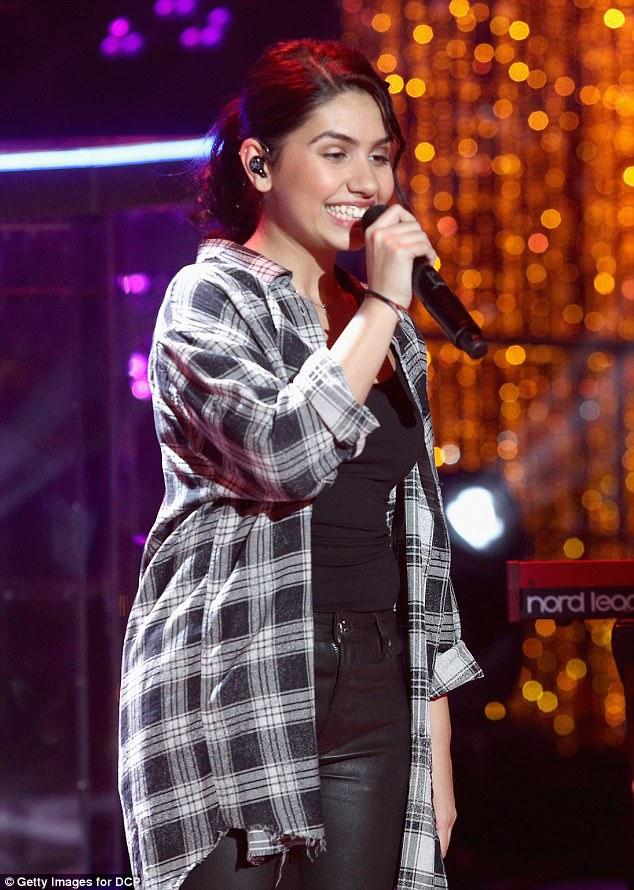 Belting out a tune: Alessia also entertained the crowd in LA