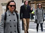 14 February 2018 - EXCLUSIVE. Pippa Middleton is seen walking around Chelsea this morning with a friend. Pippa was seen wearing a chequered jacket, looking smart on top and causal with a pair of jeans and white trainers. Pippa previously wore this Red Valentino jacket to the Henry Van Straubenzee Carol Concert in December.  Credit: NO CREDIT   Ref: KGC-520 **Exclusive - Papers Allrounder - Mags Double Space Rates - Web/Online Must Call Before Use**