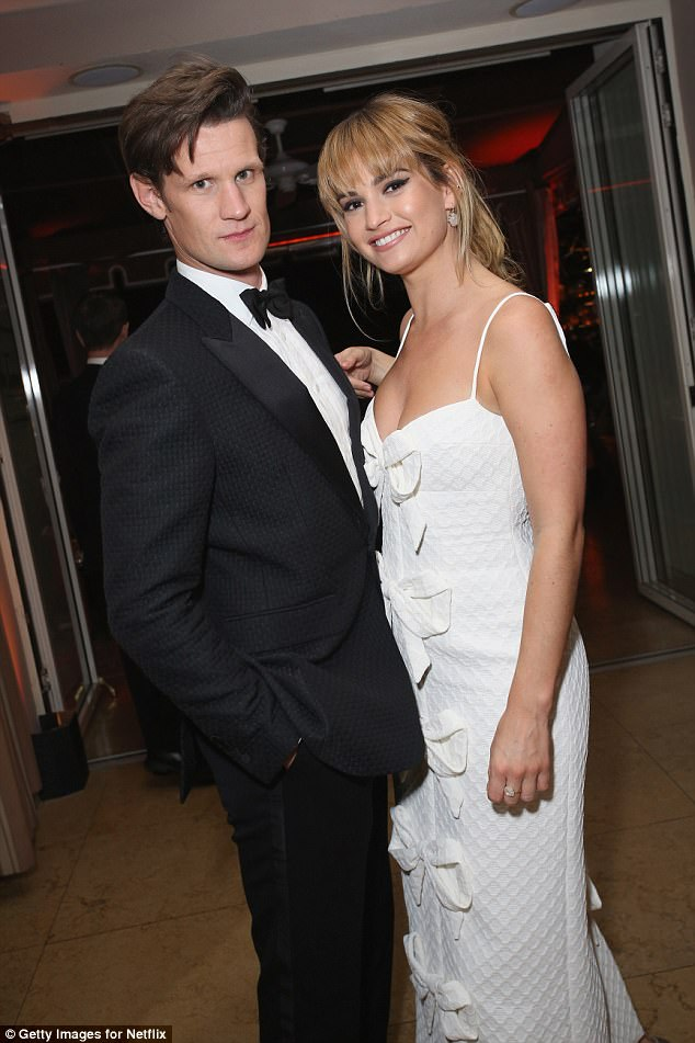 Hot couple: Lily James, 28, and Matt Smith, 35, proved their romance was stronger than ever as they cosied up at the Screen Actors Guild Awards afterparty, hosted by Netflix, on Sunday