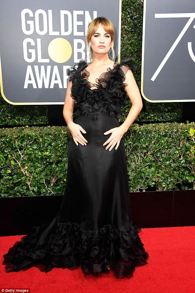 'Brilliant': Recently Lily praised the women in Hollywood who have recently shared their experience of sexual harassment and abuse - pictured at Golden Globes on January 7