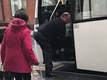 A National Express coach driver tried to drag a female passenger off his coach which was travelling from Nottingham to Poole