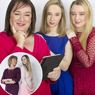 For Femail 04/02.2018: Linda Aitchison and her twin 19 year-old daughters Melissa (red dress) and Emily (blue dress). The twins left home last September to go to university in Nottingham and Linda follows them on social media in a bid to see where they are, what they're doing, who their new friends are, etc.  Sadly Linda was widowed in 2012 when husband Neil and father of the twins, died from cancer.\\nPic by Paul Tonge\\nFor 'Empty Nest' feature by Sadie Nicholas\\n\\n\\n\\n